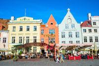 Touristic oldtown architecture, restaurants, Tallinn