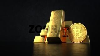 Fine Gold Bars Bitcoin Coins