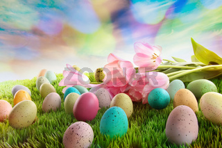 Easter eggs with tulips on grass with rainbow sky