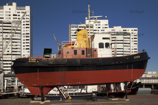 Museum harbor with the tugboat Stier, Bremerhaven, Bremen, Germany, Europe
