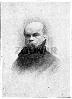Portrait of Paul-Marie Verlaine - a French poet associated with the Symbolist movement and the Decadent movement. Illustration of the 19th century. White background.