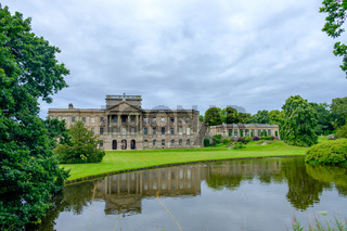 Lyme Hall historic English Stately Home and park in Cheshire, UK with people enjoying themselves in the gardens