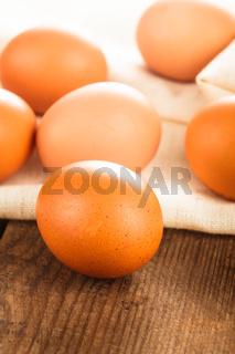 Eggs on textile