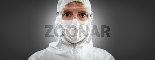Banner of Female Doctor or Nurse In Medical Face Mask and Protective Gear