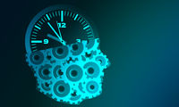 Human head with cogs and clock for business planning concept