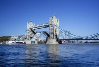 Tower Bridge with the Drawbridge raised