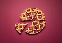 Sliced raspberry pie. Lattice crust classic pie. Raspberry tart