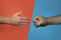 fist bump vs. handshake