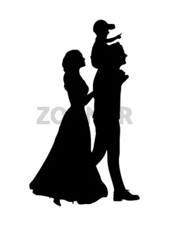 Silhouette happy family mother and father carry son on shoulders