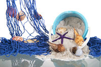 Blue fishing net with shells