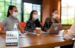 Hand Sanitizer in meeting room for New normal hygiene