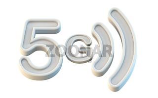 White 5G icon 3D