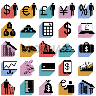 Collection flat icons with long shadow.  Finance symbols. Vector illustration.