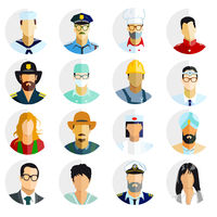 Professions, portrait button -  illustration