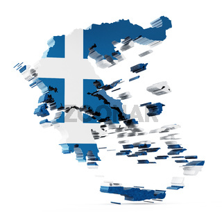 Greece map with Greek flag texture