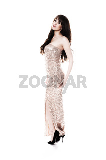 Beautiful woman in an elegant evening gown