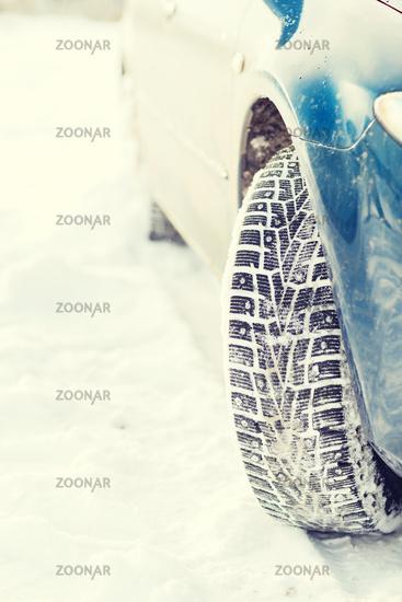 closeup of car winter tire