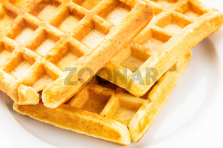 Three waffles isolated