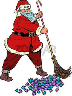 Santa Claus sweeps out the coronavirus epidemic. Vaccine and medications