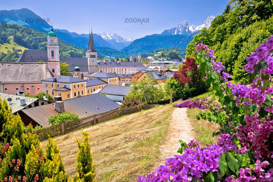 Town of Berchtesgaden and Alpine landscape colorful view