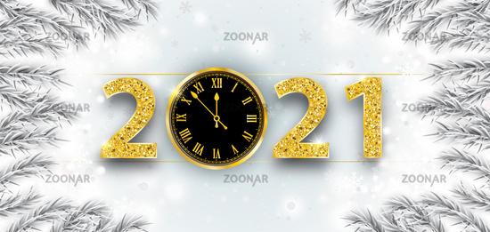 Clock 2021 Frozen Branches Snowfall Christmas Header