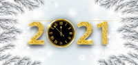 Clock 2021 Frozen Branches Snowfall Christmas Header