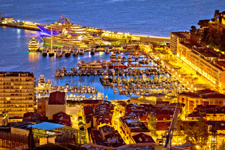 Monte Carlo yachting harbor and colorful waterfront golden dawn view
