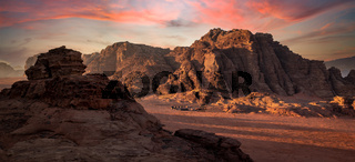 Beduin camp at sunrise in Wadi Rum desert, Jordan