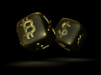 Digital 3D golden dices with cryptocurrency logos Bitcoin, Litecoin and Ripple.