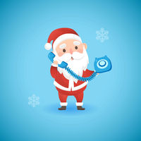 Christmas funny Santa Claus holding blue old phone, vector illustration.