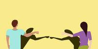 Social Distancing Fist Bump Greeting Vector