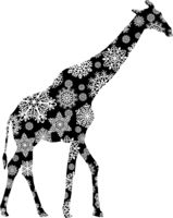 Christmas card giraffe in snowflakes on a white background