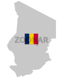 Fahne und Landkarte des Tschad - Flag and map of the Chad