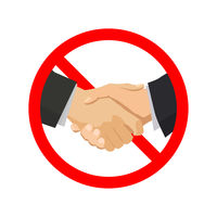 Handshake with red forbidden sign on white