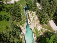 Aerial view over Soca river in Triglav National Park, Slovenia