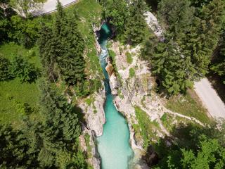 Aerial view over Soca river in Triglav National Park, Slovenia