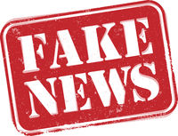 red grungy FAKE NEWS label or stamp