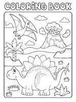 Coloring book dinosaur composition image 1