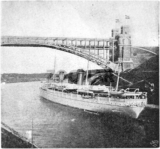 Imperial Yacht Hohenzollern II on the Kiel Canal (1893). Illustration of the 19th century. Germany. White background.