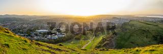 Panorama Of Edinburgh Cityscape At Sunset