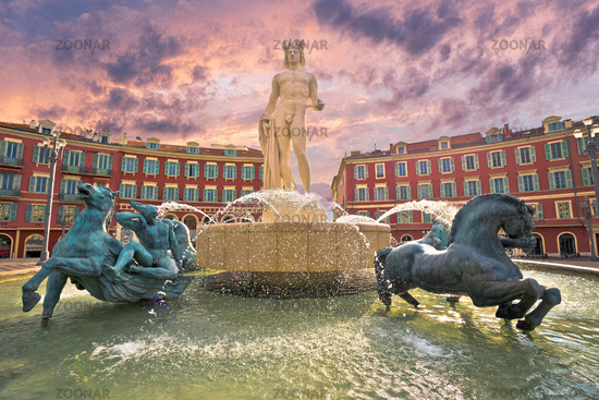 City of Nice Place Massena square and Fountain du Soleil view