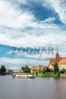 Ostrow Tumski Cathedral island with Oder river in Wroclaw, Poland