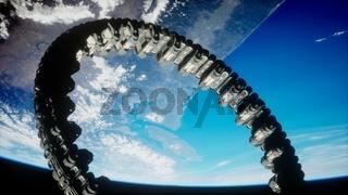 futuristic space station on Earth orbit