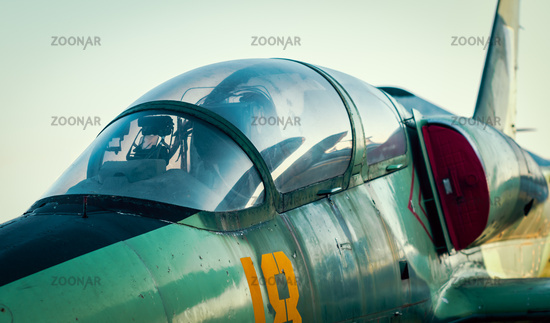 cockpit of russian army military fighter aircraft close up