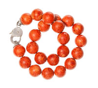 tangled necklace from polished red coral isolated