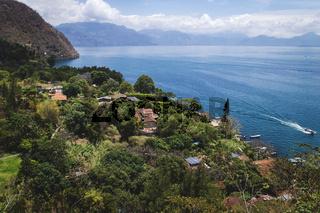 Top view on the coast along lake Atitlan at Santa Cruz la Laguna, Guatemala