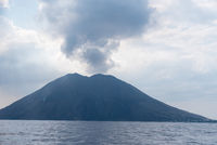 Cloud of smoke over the active Stromboli volcano in Italy