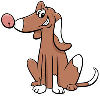 cartoon spotted dog animal character waving paw