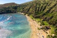 Aerial view of Hanauma Bay nature preserve on Oahu, Hawaii