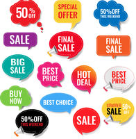 Sale Labels With Isolated Transparent Background